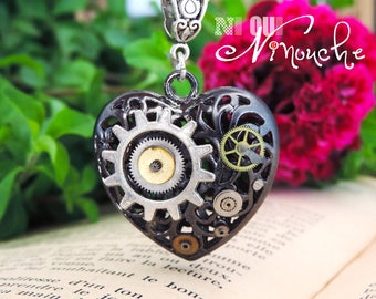 Gunmetal steampunk Heart Necklace ~ Itarys ~ gears Christmas gift idea