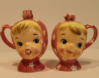 Napco Ceramic Shakers - Little Miss Cutie Pie - Salt and Pepper Shakers - Pink Cutie Pie Shakers - Japan - Free Shipping in Canada and U.S.