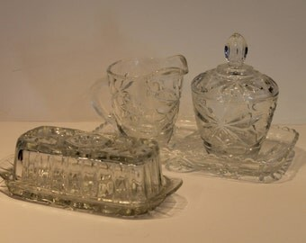 Fire King EAPC Butter Dish - Cream and Sugar Set with Tray - Star of David Pattern Table Set - Early American Prescut Glass