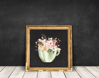 Floral Coffee Mug | Coffee Poster, Floral Vase Print, Flowers Jar Art, Floral Jar Art, Floral Bouquet Print, Coffee Wall Art, Cup Bouquet