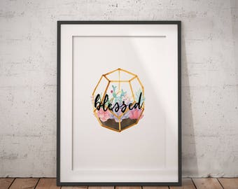 Floral Blessed Art | Blessed Sign, Faith Sign, Thankful and Blessed, Blessed Signs, Sign for Blessed, Simply Blessed Sign, Blessed Wall Sign