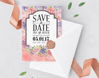 Save the Date Invitation | Save Date Floral, Save Date Summer, Save Date Spring, Botanical Wedding, Pink Purple Wedding, Save Date Invite