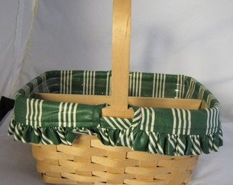 Longaberger Basket, Green with White Stripe Liner, plus Wooden Four Square Divider, Handwoven Dresden, Ohio,