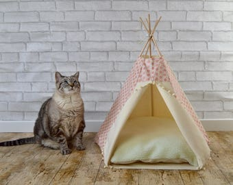 Cat house, cat bed, cat tower, cat furniture, cat teepee, cat bedding, pet gift - asanoha / japanese - copper & ivory - pompom trim