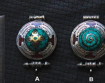 Nepali Box - Turquoise - Lapis Lazuli - Coral Incrusted Stone - Ethnic - Boho - Nepal - Buddha - Spiritual - Handmade -