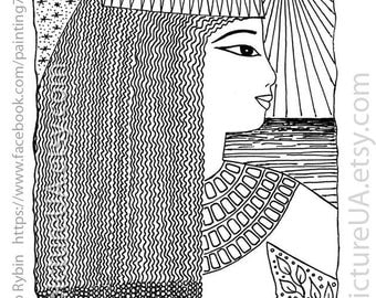 Portrait of a woman in Egyptian style. Woman and the sea. Black and white graphics. Profile. Gel pen. 12+