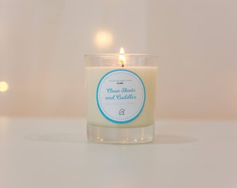 BearHugs Soy Clean Sheets and Cuddles Candle - Collaboration with Sheffield Candle Co - Fresh Linen Fragrance