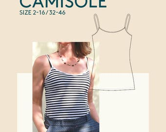 PDF Strap top sewing pattern|womens PDF tank top pattern for sewing|PDF jersey vest tank top pattern women|camisole cami pdf pattern