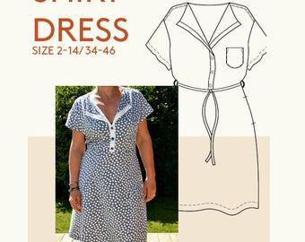 Shirt dress PDF sewing pattern/Button front shirt dress digital PDF sewing pattern/digital t-Shirt dress PDF pattern Jersey dress pattern