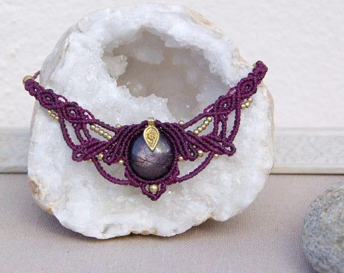 Macrame Necklace Mod. Izar with MAGIC STAR RUBY, talisman necklace, yoga necklace, stone amulet, talisman, goddess necklace, nickel free