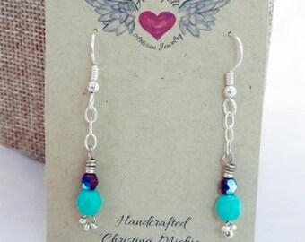 Long Earrings, Dangle Crystal Earrings, Fine Glass Czech Bead Earrings, Drop and Dangle Earrings, Chain Earrings, Gift for her, Popular Gift