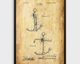 Anchor Patent Print | Anchor Design, Patent Wall Art, Vintage Print, Anchor Art, Yachting, Sailing Ship Art, Vintage Anchor, Single Print