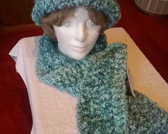 Waterfall Blue Hat and Scarf Set