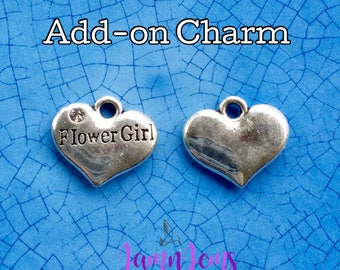 Flower Girl Charm, Flowergirl gifts, Accent Charms, Bridal Party Gifts, Silver Charm, DIY Wedding, Bouquet Charms, Be my Flowergirl