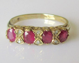 Vintage 9ct Gold Ruby and Diamond