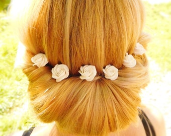 Wedding hair pins White rose hair pin Flower bridal hairpiece Sister Gift for her Prom Flower accessories Floral bobby pins Hair jewelry