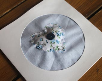 Pretty Blue Floral | Love Heart Design | Hand Sewn | Button Embellished | Fabric | Greeting Card