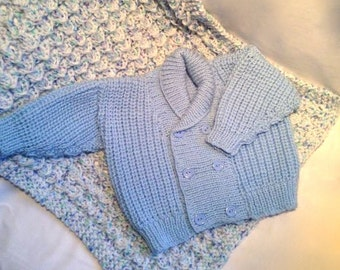 Baby Blue Baby Knit Cardigan / Double Breasted / Button Down Cardi | Hand Knitted