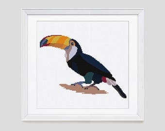 Cross stitch pattern, Toucan counted cross stitch, toucan cross stitch pattern, toucan pdf cross stitch pattern