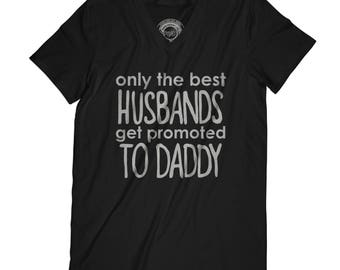 Fathers day shirt new dad gift baby announcement shirt Husbands Get Promoted to Daddy Shirt Gift for Husband APV36