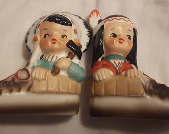 Vintage Native Children Salt and Pepper shaker set Ceramic Unique Gift