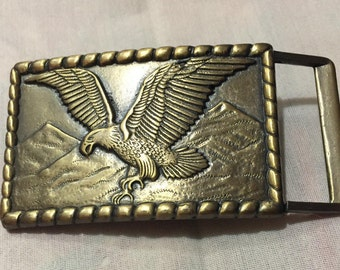 American Eagle Mountains Brass Belt Buckle, Eagle Collection Belt Buckle 9187-33