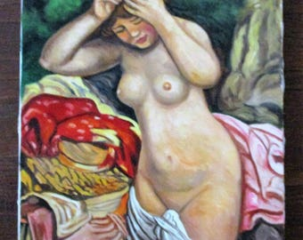 Vintage Nude Bather Arranging Her Hair Oil Painting After Renoir Signed Sturman Lady Girl Woman Portrait
