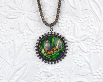 Butterfly Photo Necklace on Vintage Filigree Bronze Setting and Snake Chain