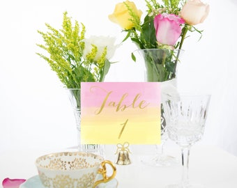 Summer Watercolor Gold Foil Table Numbers Handmade Wedding
