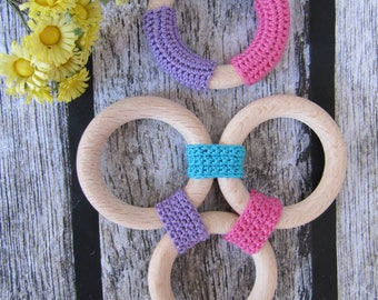 wooden teething ring baby toys teething toys teether clutch toys grasping toys organic baby  toys natural teether baby gift toddler toys