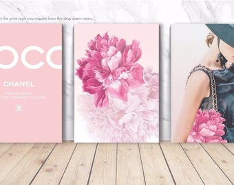 COCO CHANEL PASTEL Blush Peonies Set - 3 x Wall Art Print Poster Canvas