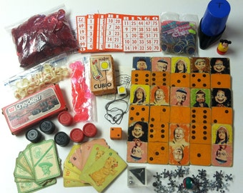 Vintage Mixed Lot 1950's 1960's 1970's 1980's Game Parts Pieces Whitman Checkers Howdy Doody Domino Cards Captain Kangaroo Green Jeans Bingo