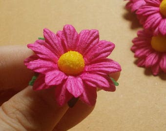 "10 Paper Flowers (Size 1.5"") Mulberry Paper Craft flower, Wedding, Mulberry paper daisies, Fuchsia Paper Daisy."