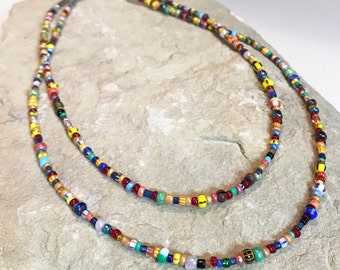 Multicolored necklace, seed bead necklace, colorful necklace, sundance style necklace, layering necklace,statement necklace, gift for her