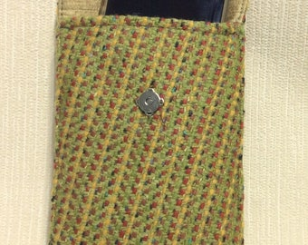 Welsh tweed phone case, cell case in rainbow and lime green