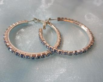 Faux Diamonds,  Silver Tone Metal Hoops, Pierced Earrings