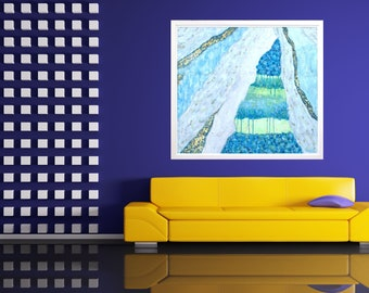 Modern Art Abstract Painting Giclée Print on Canvas Waterfall Abstract Painting Art for Living Room Large Wall Print for Office Blue White