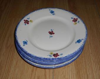 Lot of 6 vintage dinner plates flowers Digoin Sarreguemines, MARKED, 1950's