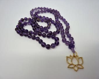 Amethyst Mala Necklace - Hand Knotted Lotus Gemstone Mala - Amethyst Prayer Necklace - Meditation - Healing Necklace - Prayer Necklace