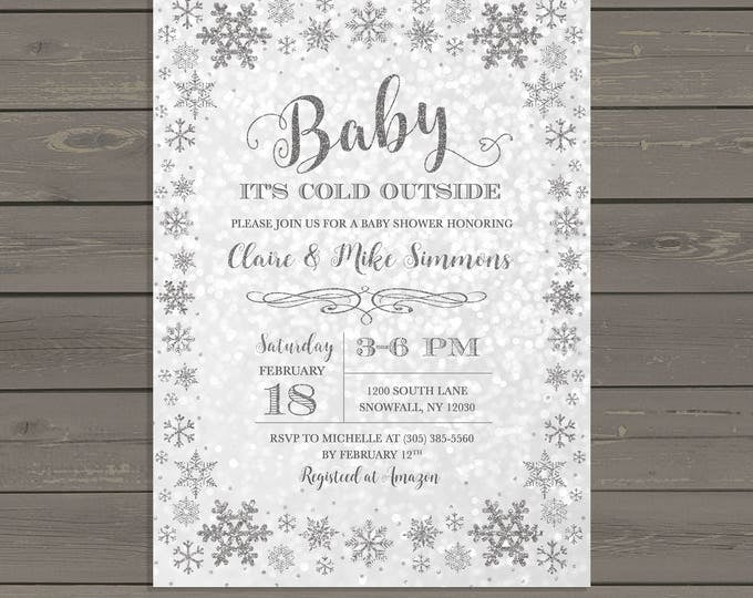 Winter Wonderland Baby Shower Invitation, Baby It's Cold Outside Baby Shower Invitation, Silver Snowflake Baby Shower Invite, Gender Neutral