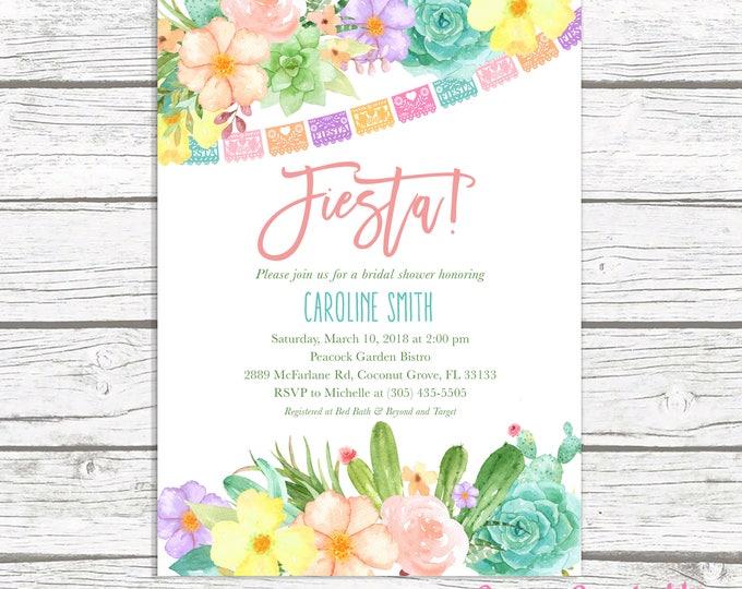 Cactus Bridal Shower Invitation, Fiesta Bridal Shower Invitation, Succulent Bridal Shower, Mexican Cinco de Mayo Invite, Wedding Shower