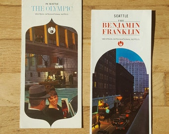 Pair of vintage Seattle hotel brochures from the 1960's