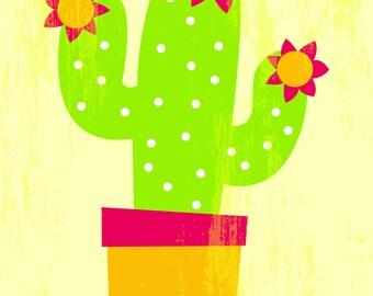 Distressed Cactus Print