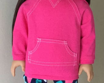Fits American girl doll: pink hoodie with leggings and boots