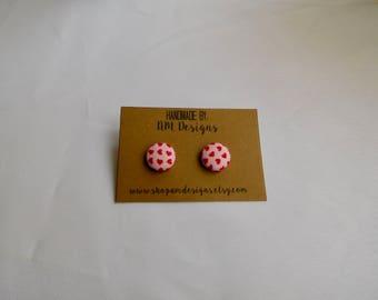 Button Earrings, Fabric Earrings, Earrings, Handmade Earrings, Heart Earrings