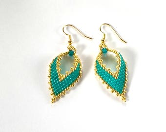 Unique Earrings, Seed Bead Earrings, Teal Earrings, Boho Earrings, Russia Leaf Earrings, Beaded Earrings, Hippie Earrings, Gypsy Earrings