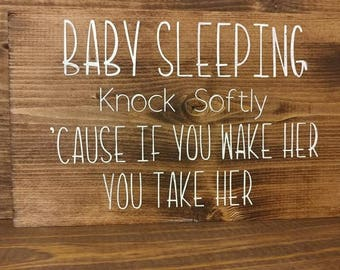 Knock Softly Mini Sign