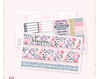 February Monthly View Sticker Kit - 3 sheets MATTE REMOVABLE paper / for the Vertical Erin Condren