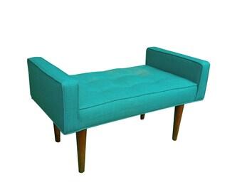 Retro Teal Walnut Mid Century Upholstered Bench - Tufted~ Design 59 inc