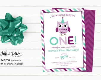 Purple Owl Birthday Invitation - First Birthday Invitation - Custom Birthday Invitation - Purple and Teal - Digital Invitation - Printable